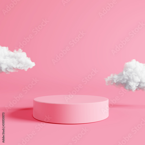 Foto Pink podium with cloud on pastel pink background. 3d rendering