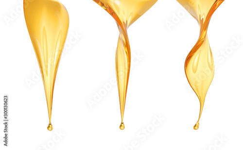 Fototapeta Golden Fuel oil or Olive oil drop isolated on white background, 3d rendering. obraz