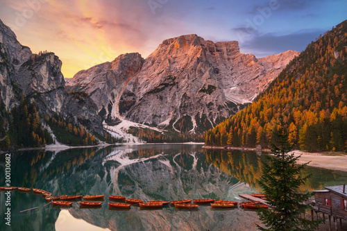 Lago di Braies lake and Seekofel peak at sunrise, Dolomites Canvas Print