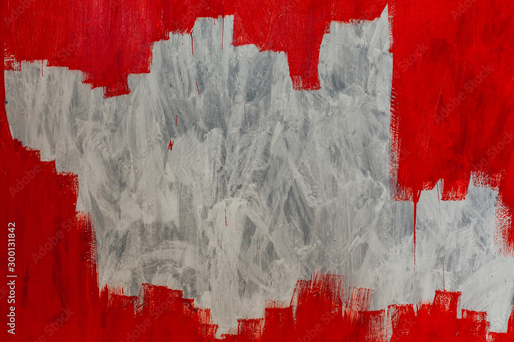 Fototapety, obrazy: white grey wall painted with red paint background texture