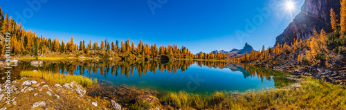 Foto auf Leinwand Landschaft Golden reflections on the Federa lake. Dreamlike Dolomites. Italy