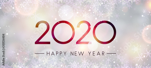 Obraz Blurred shiny Happy New Year 2020 banner with snowflakes. - fototapety do salonu