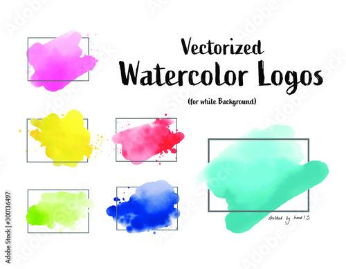 Photo handgemalte, vektorisierte Watercolor Aquarelle Splash, Wasserfarbe Aquarellspri