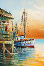 Fragment Of Painting With Thick Paint Brushwork And Palette Knife Details Depicting Fisherman Boats And Shacks In A Harbor.