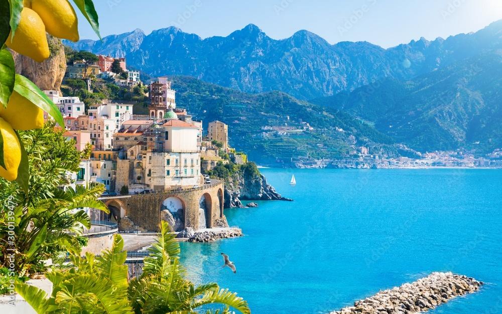Fototapeta Small town Atrani on Amalfi Coast in province of Salerno, Campania region, Italy. Amalfi coast is popular travel and holyday destination in Italy.