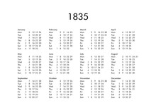 Calendar Of Year 1835