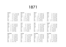 Calendar Of Year 1871