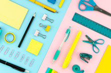 Yellow And Blue Stationery On ...