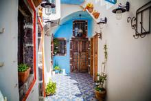 Streets Of Santorini Island. A...