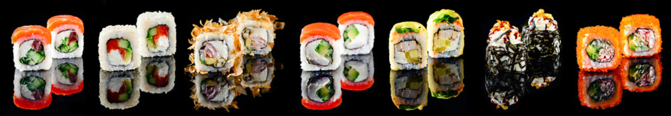 Different kinds of sushi roll Japanese cuisiune