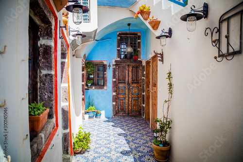 Streets of Santorini island. Architectural details. Greece