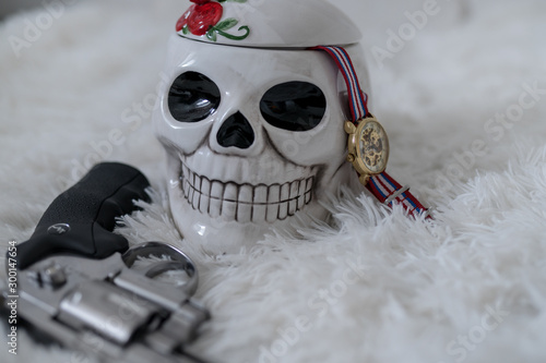 santa muerta captain - skull, watch & gun Canvas Print
