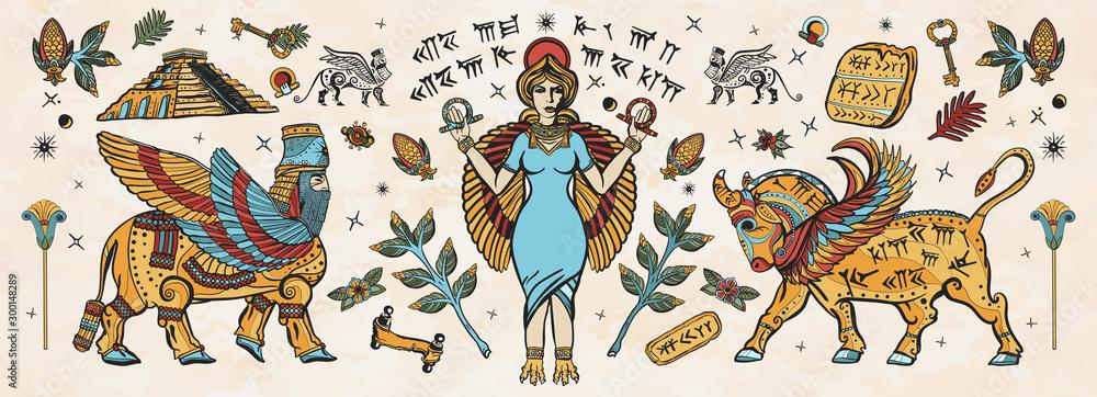 Fototapeta Ancient Sumerian Civilization. Old school tattoo collection. Mesopotamian goddess. Ishtar and Lamassu. Cuneiform writing, ziggurat. Assyrian culture. Gilgamesh legends. Middle East history
