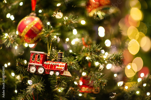 Obraz festive christmas and new year decorations - fototapety do salonu