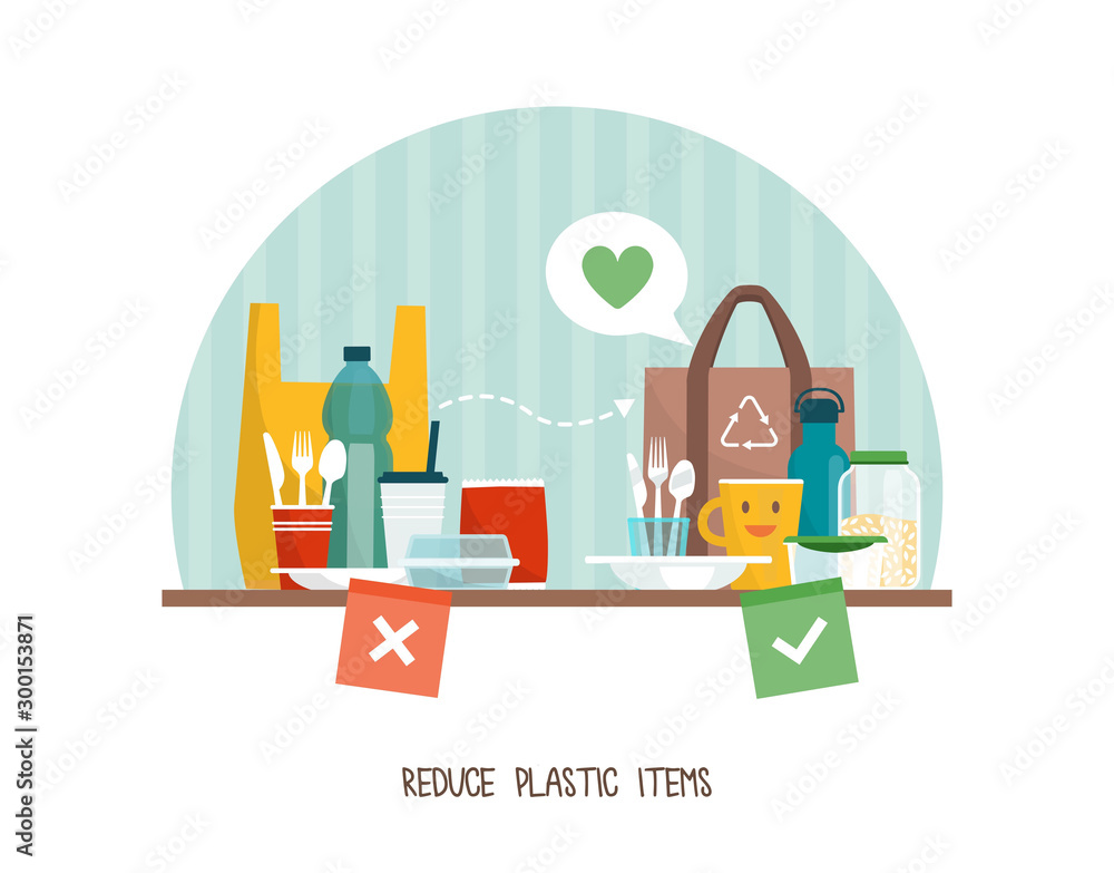 Fototapety, obrazy: Reduce plastic items at home