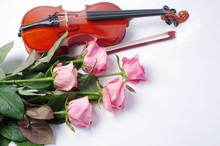 Violin With A Bow And Five Pin...