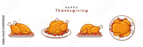 Stampa su Tela Illustration of baked turkey for thanksgiving day
