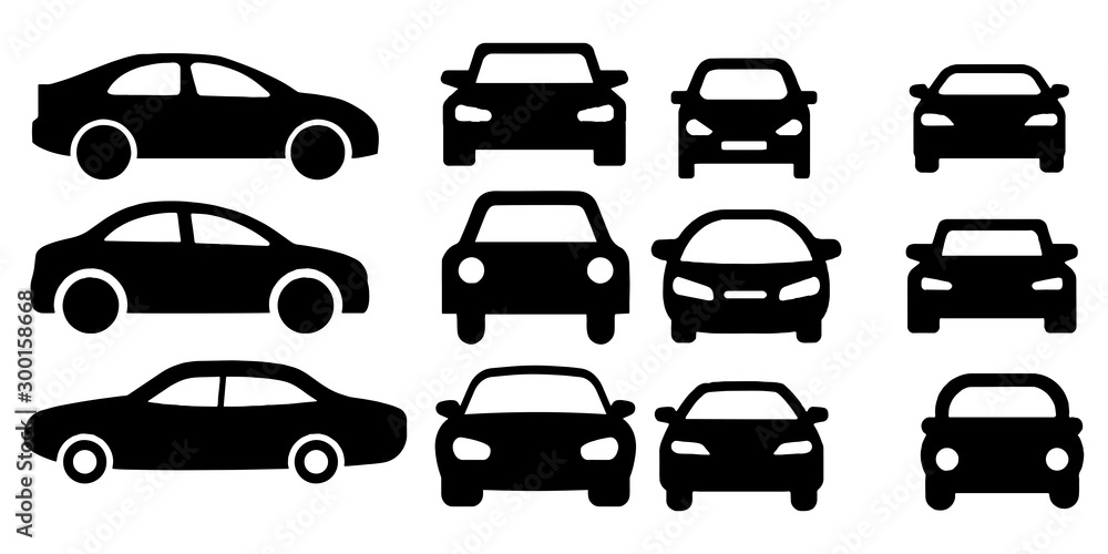 Fototapety, obrazy: car icon vector sign isolated on white background