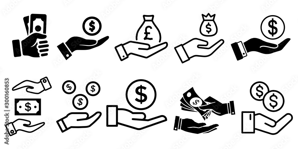 Fototapety, obrazy: Simple Set of Hand holding money Vector Icons
