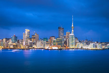 Auckland Skyline At Blue Hour, Auckland, New Zealand