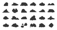 Flat Clouds Icon. Black Spring...