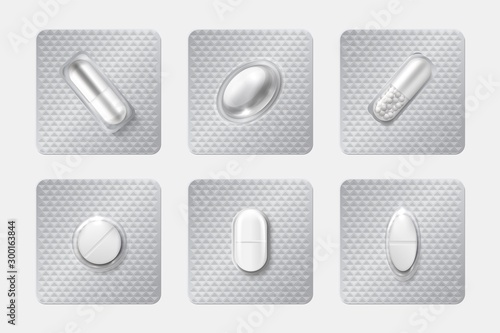 Stampa su Tela Realistic pill blisters set
