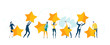 canvas print picture Little people caring seven golden stars, as symbol of success, ranking and growth. Business concept illustration