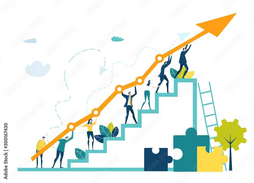 Fototapeta Business people walking up at the stars with arrow, which shows the growth up, success and financial developing. Business concept illustration