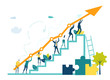 canvas print picture Business people walking up at the stars with arrow, which shows the growth up, success and financial developing. Business concept illustration