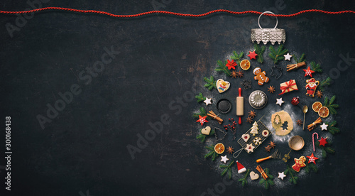 Spoed Fotobehang Bakkerij Christmas baking background