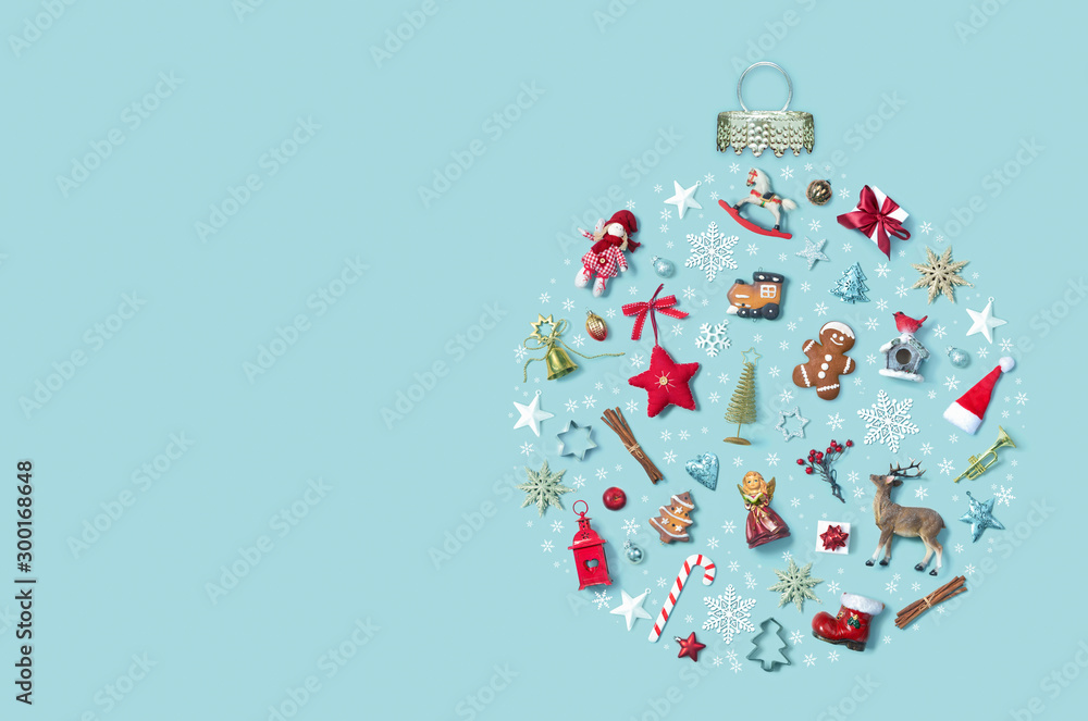 Fototapety, obrazy: Christmas holiday background with objects in bauble ornament shape, top view