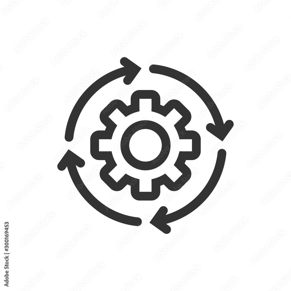 Fototapeta Workflow icon in flat style. Gear effective vector illustration on white isolated background. Process organization business concept.
