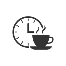Coffee Break Icon In Flat Styl...