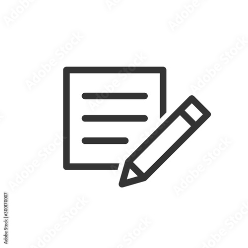 Obraz Blogging icon in flat style. Document with pen vector illustration on white isolated background. Content business concept. - fototapety do salonu