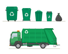 Garbage Truck And Garbage Cans...