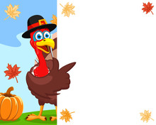 Turkey In A Hat Points A Wing To A White Sheet, A Place For Text. Thanksgiving Day.