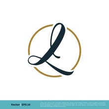 L Letter In Circle Icon Vector...