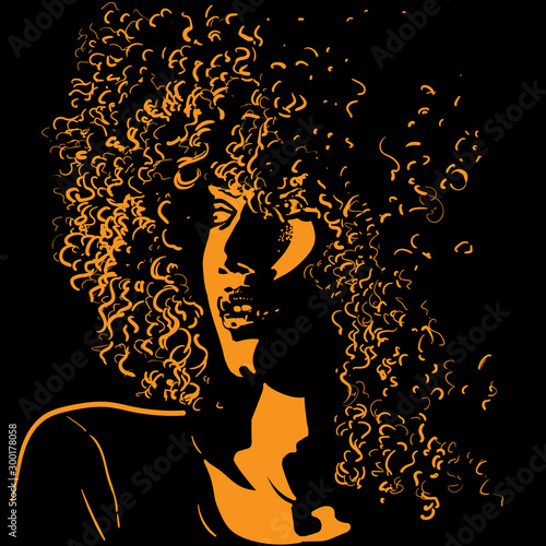 Photo African pretty woman with afro hair style portrait silhouette in contrast backlight