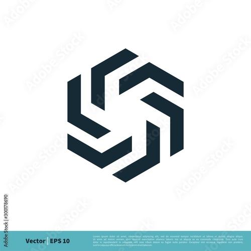 Propeller Hexagon Icon Vector Logo Template Illustration Design. Vector EPS 10. Wall mural