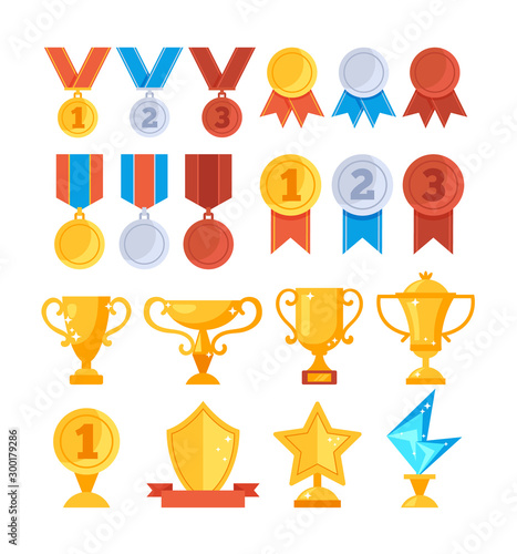 Fotomural Achievement award trophy golden cup medal icon set