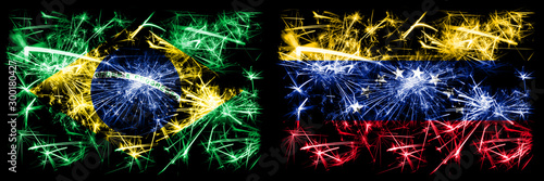 Brazil, Brazilian vs Venezuela, Venezuelan New Year celebration sparkling fireworks flags concept background Fototapet
