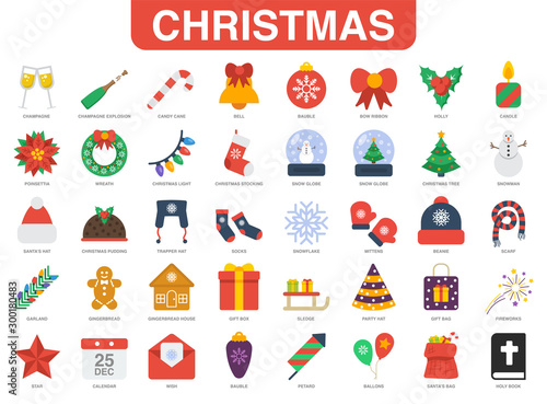Vászonkép  Christmas 40 flat icon set