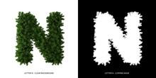 Letter N Uppercase Of Leaves. ...