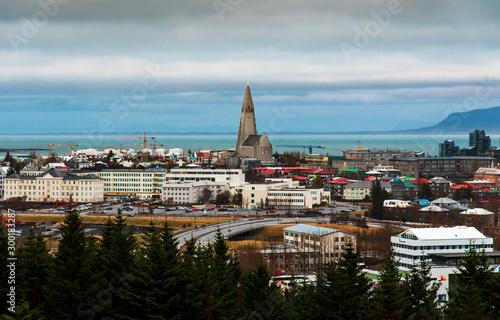 Foto op Aluminium Arctica Panoramic view of Reykjavik Icelandic capital