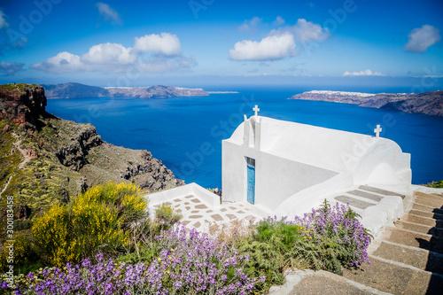 Traditional churches of Santorini, Cyclade island, Greece Canvas Print