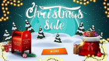 Christmas Sale, Discount Banner With Winter Landscape. Big Blue Moon, Starry Sky, Garland, Button, Santa Letterbox And Santa Claus Bag With Presents