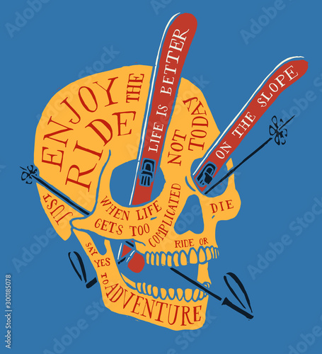 Cuadros en Lienzo  Ski skull covered with typography, with skies and sticks in it's eyes and mouth