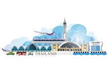 Vector Of Thailand Transportation, Bangkok City Travel, Bangkok Railway Station, Suvarnabhumi International Airport, Sky Train