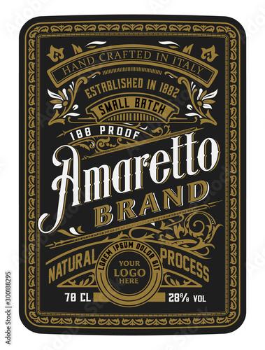 Vintage bottle label design with floral elements. Alcohol industry emblem, distilling business. Wall mural