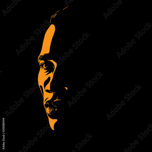 Fotografía  African Man portrait silhouette in contrast backlight. Vector.